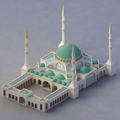 3d model of mosque islam muslims