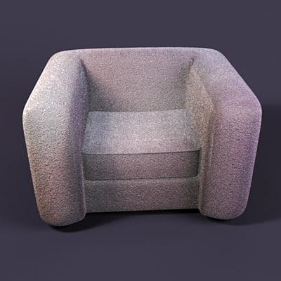 plush chair white 3d max