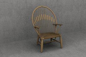 3d 3ds wegner peacock pp550 chair designer