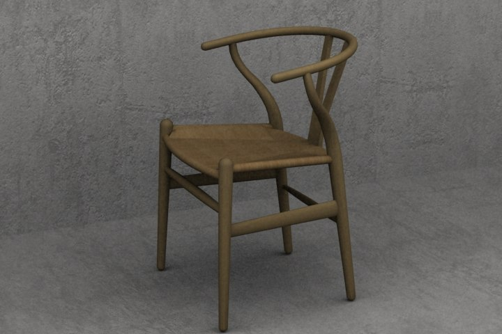 3d wegner wishbone ch24 chair designer model