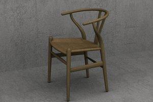 3d wegner wishbone ch24 chair designer model