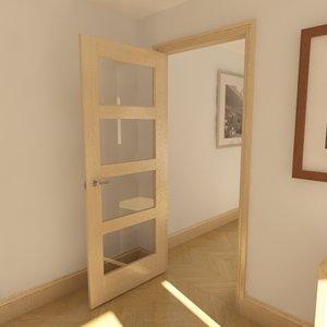 3d model of 4 panel glazed door