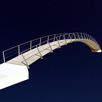 pedestrian bow bridge 3d max