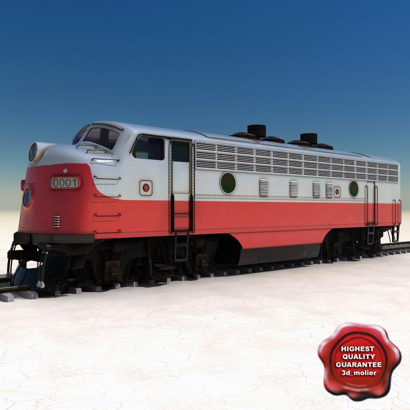 realistic locomotive emd f7 3d 3ds