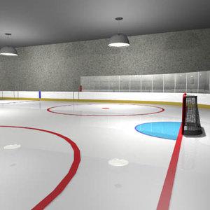 3d model hockey rink arena