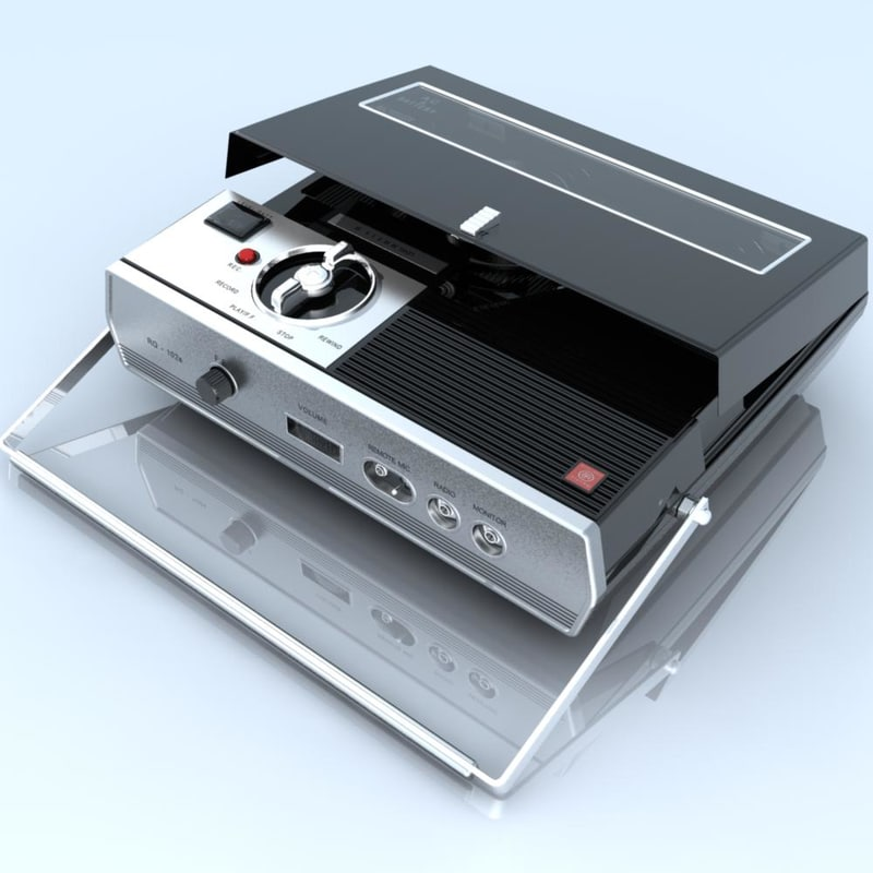 retro tape recorder player 3d model