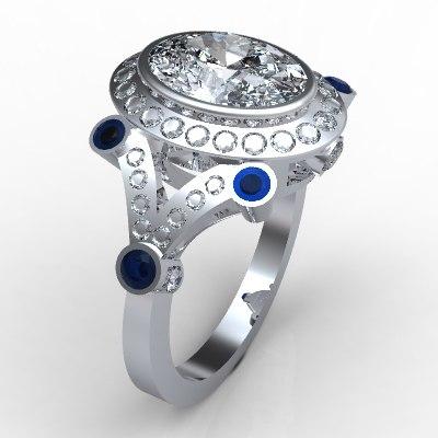 3d model oval diamond jewelry