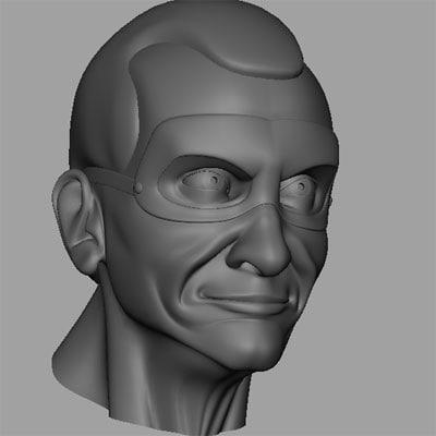 3d old hero head model