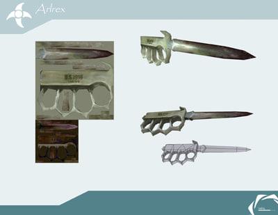 trench knife 3d model