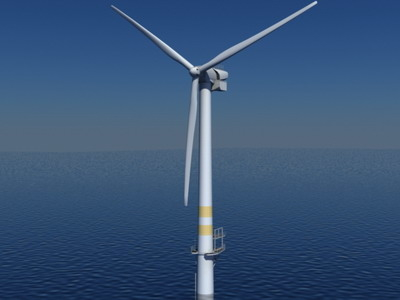 3d model real time offshore wind turbine