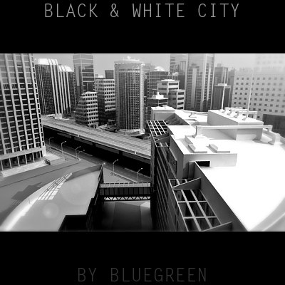 black white definition city 3d model
