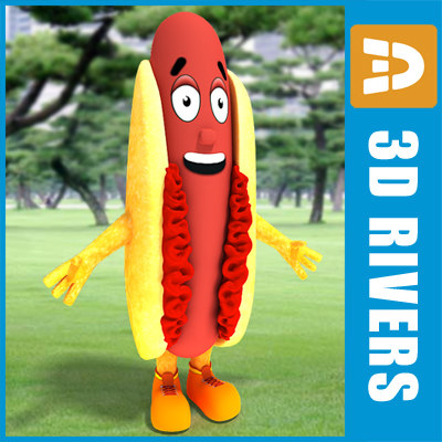 promotional hot dog costume 3d max