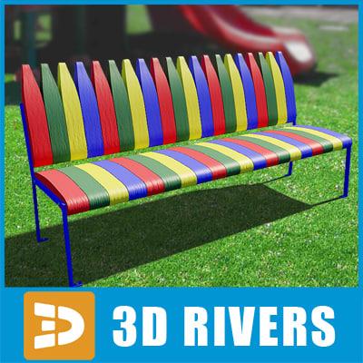 3ds playground kids bench