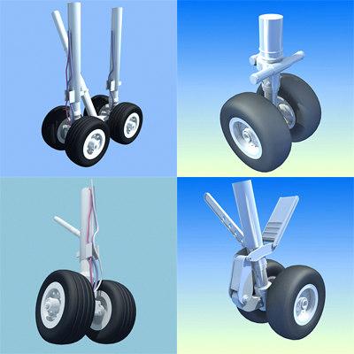 4 aircraft wheels 3d lwo