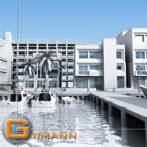3d seaside port model