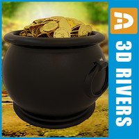 3d pot leprechaun treasure model