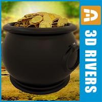 3d pot leprechaun treasure model