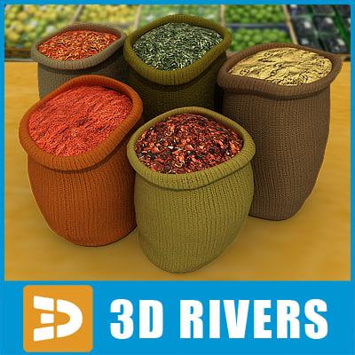 bags spices 3d model