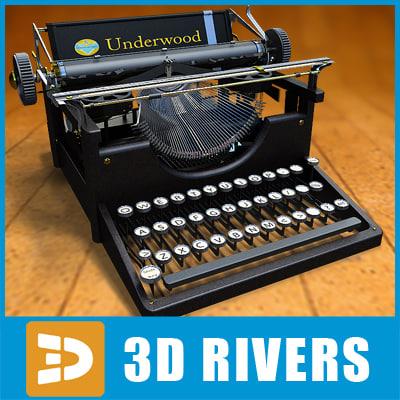 3d model retro typewriter