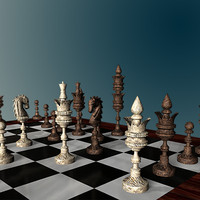 chess set carved wooden board 3d model