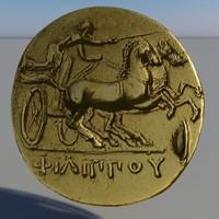 golden greek gold coin 3d 3ds