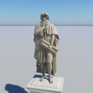 3d model leonardo statue object -