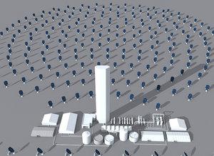 3d solar power station model