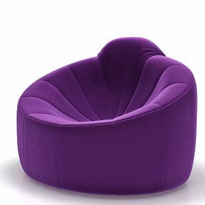 3d armchair ligne roset pumpkin model