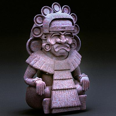 3d aztec medicine man artifact model