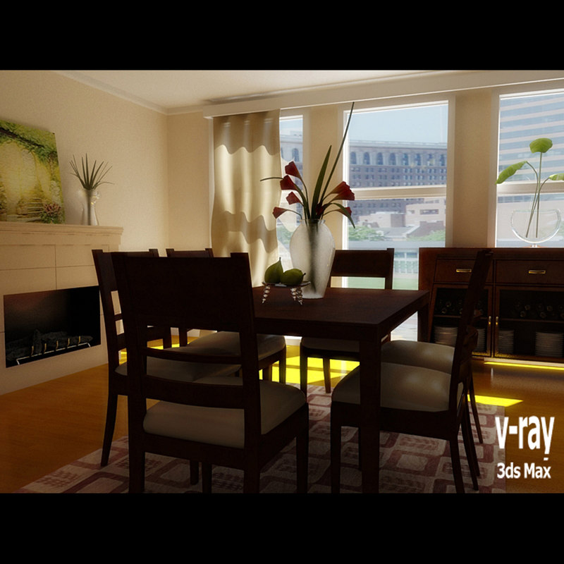 3ds max dining room scene 1