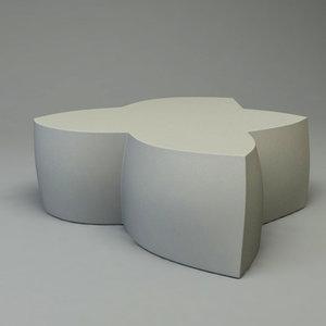 heller coffee table sitting 3d model