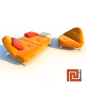 3d model furniture set sofa armchair