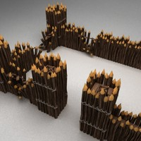 3d max wooden fortress wall
