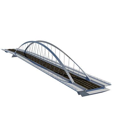 highway bridge arch suspension 3d model
