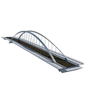 highway bridge arch suspension 3d model