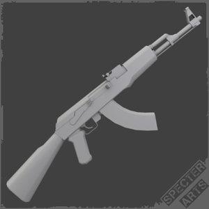free obj model ak47 sample assault rifle