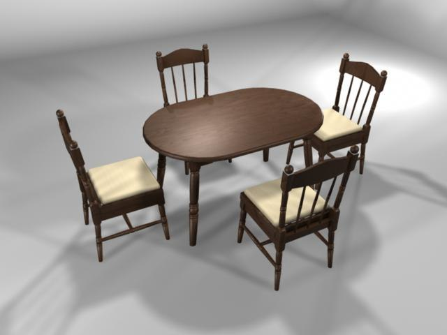 3d model dining table chair