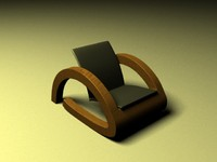 Wooden chair whit black seat