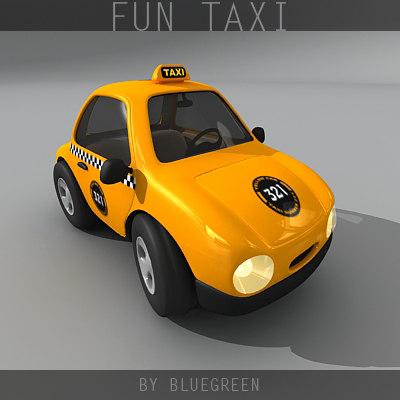 cartoon taxi 3d model