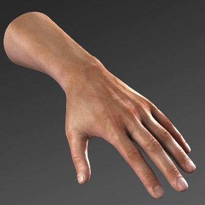 obj realistic male hand max8