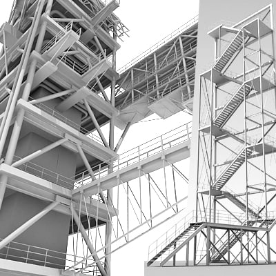 2 industrial towers 3ds
