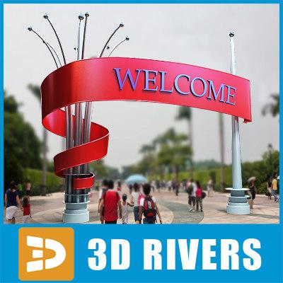 amusement park entrance 3d max