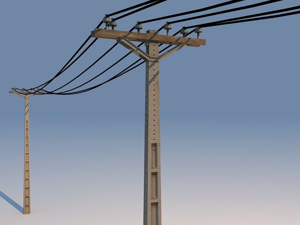concrete powerline 01 3d 3ds