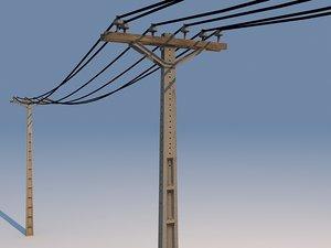 concrete powerline 01 3d 3ds