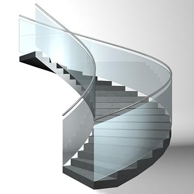 3d modern spiral staircase