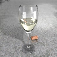 resolution white wine glass 3d model