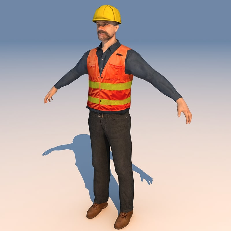 3d construction worker model