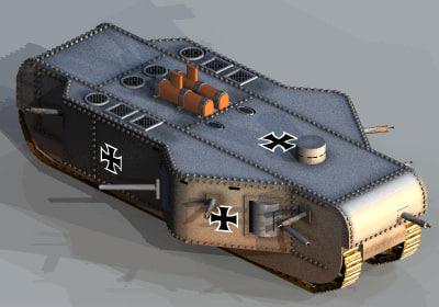 3ds max tank prototype ww1