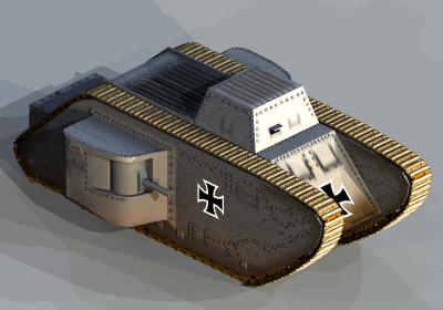 3d 3ds ww1 german tank