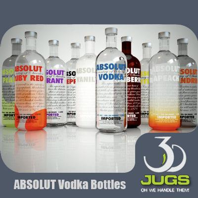 absolut vodka bottles 3d model